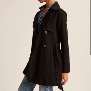 Abercrombie & Fitch Drapey Black Trench coat